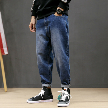 Japanese Style Fashion Men Jeans Loose Fit Retro Blue Black Color Elastic Harem Pants Streetwear Designer Hip Hop Jeans Men