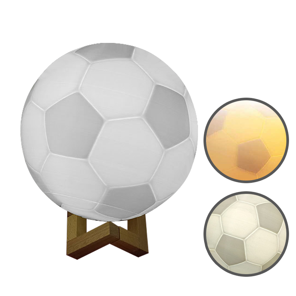 Wood Bracket Home Decor USB Desk 3D Printing Soccer Colorful LED Bedroom Gifts Football Bedside Switch Night Light Table image