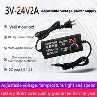 Suswe-adaptador de tensão ajustável dc de 3-24v, regulagem de velocidade em passo, dimerização 3-12v, 5a com tela display, multifunção 60w