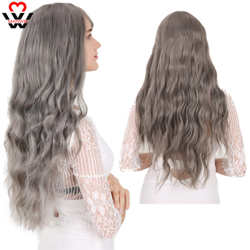 цена на MANWEI Wavy Women Wig High Temperature Fiber Synthetic Wigs Long Hair Cosplay Wigs for Women Pink Wig with Bangs