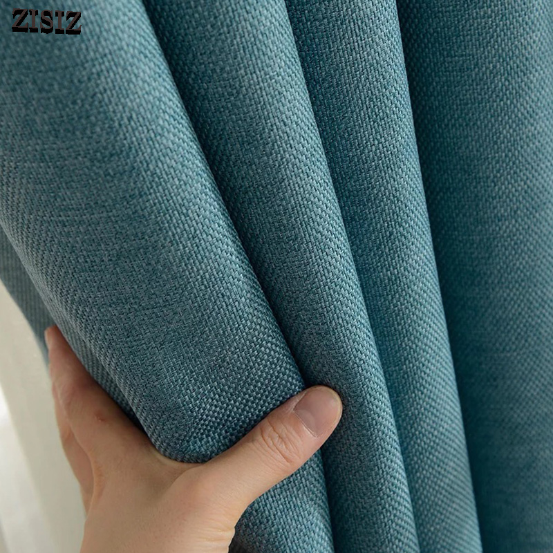 ZISIZ Modern Style Blackout Curtain For Living Room Brdroom Solid Color Thermal Insulated Curtains Window Blinds Drapes