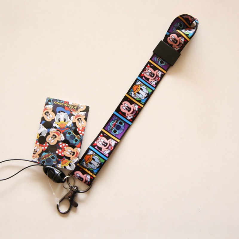 43cm Cartoon Mickey Stitch Lanyard Sleutelhangers Kaarthouders Bankkaart Neck Strap Card Bus ID Kaarthouder Badges