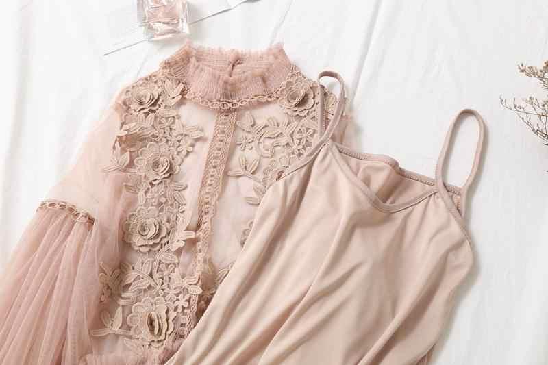 Femmes Perspective gaze Blouse chemise lanterne manches dentelle Crochet maille Blusas Blouse à volants avec élastique Cami haut pour femme costumes