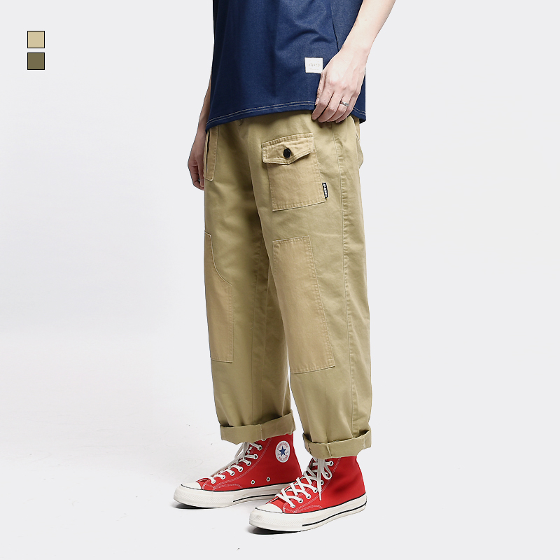 Functional Multi-pocket Cargo Pants Mens Elastic Waist Casual Trousers Men Canvas Loose Straight Patch-pocket Trousers