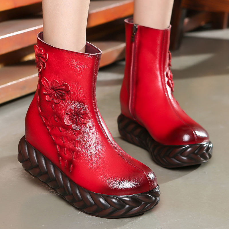 Image 3 - GKTINOO New 2020 Fashion Women Genuine Leather Boots Handmade  Vintage Flat Platform Ankle Botines Shoes Woman Winter botasAnkle  Boots