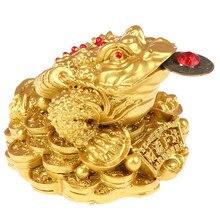 Feng shui sapo dinheiro sorte fortuna chinês ouro sapo moeda decoração de escritório em casa enfeites mesa presentes sorte