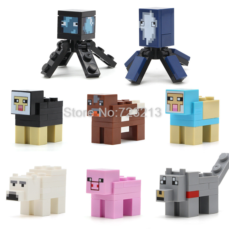 Game Animal Figure Single Polar Bear Sleeve Fish Wolf Cow Dyed Sheep Pig Squid Building Blocks Sets Models Bricks Toys Legoing