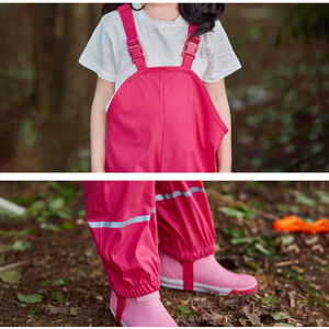 Image 3 - Rain Trousers Kids PU Baby Girl Overall Waterproof Boys Pants Yellow Navy Blue Toddler Romper 2020 Chidlren Jumpsuit 1 10 Years