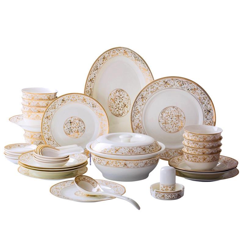 56pcs Gold Inlay Porcelain China Dinnerware Set European Tableware Set Ceramic Plates Bowls Dishes Plates