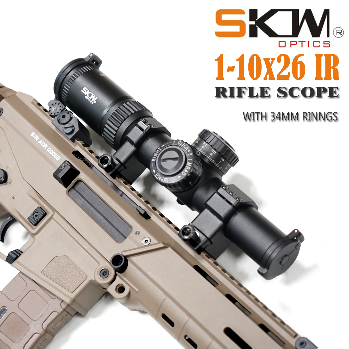 SKWoptics  Hunting 1-10x26 34mm Rifle Scopes With 34mm CNC Rings Military Tactical Reticle Shock Proof Riflescopes