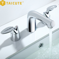 TAICUTE-Juego de grifería para lavabo de baño, grifos mezcladores de agua fría y caliente montados en inodoro, rotación de 360 grados, doble manija, negro y dorado