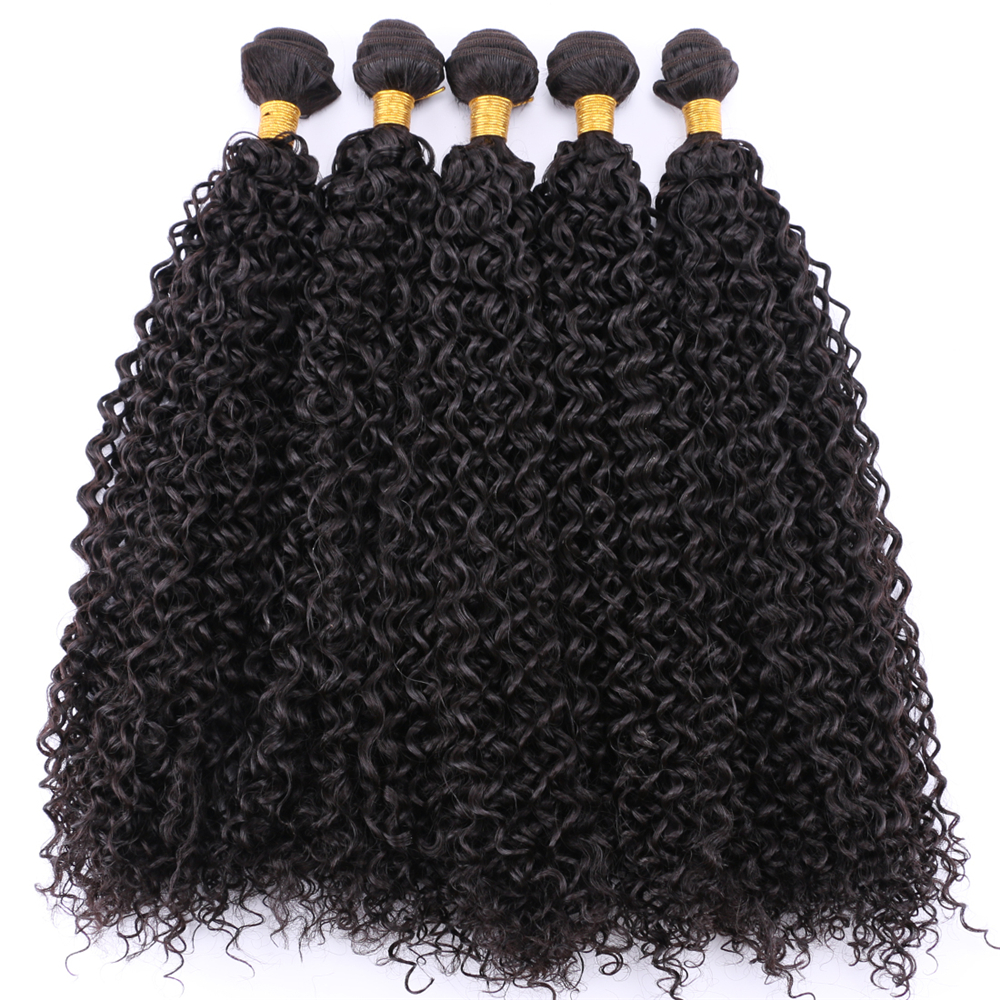 Pure Color Stretched Length 14-30 Inches Afro Kinky Curly Hair Weave Black Brown Golden Synthetic Hair Extension