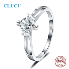 CLUCI Authentic 925 Sterling Silver Classic Four Claws Zircon Wedding Ring for Women Gift Jewelry