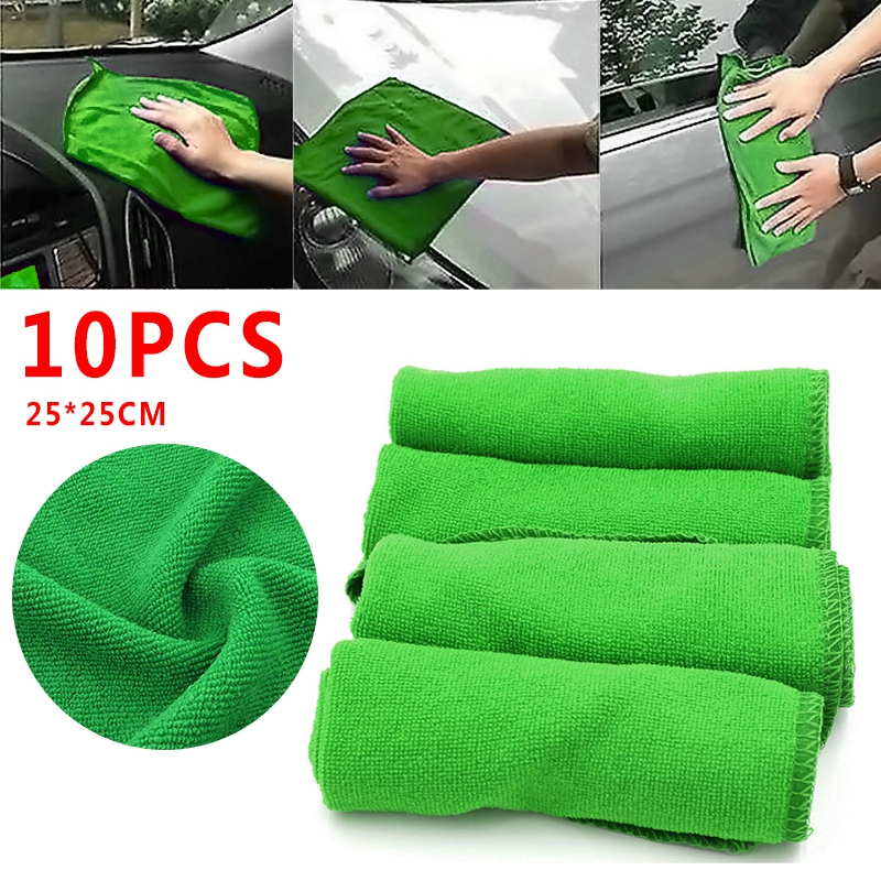 Pcmos 10Pcs Car Towel Green Microfiber Washcloth Auto Car Care Cleaning Towels Soft Cloths Tool Windshield Sunshades 2019 New