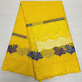 5yard African Cotton Lace Fabric 2021 High Quality Dry Embroidery Swiss Voile In Switzerland For Party