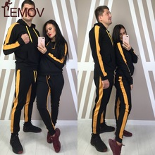 ZOGAA Tracksuit Set for Women or Men Hooded Casual Patchwork 2 Piece of Large Size Mens Sports Suit