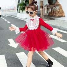 купить Dress Girls Clothing Lace Flare Sleeve Bow Lace Baby Princess Red Dress Ball Gown for Girls Birthday Party Teenager Prom Designs по цене 947.01 рублей