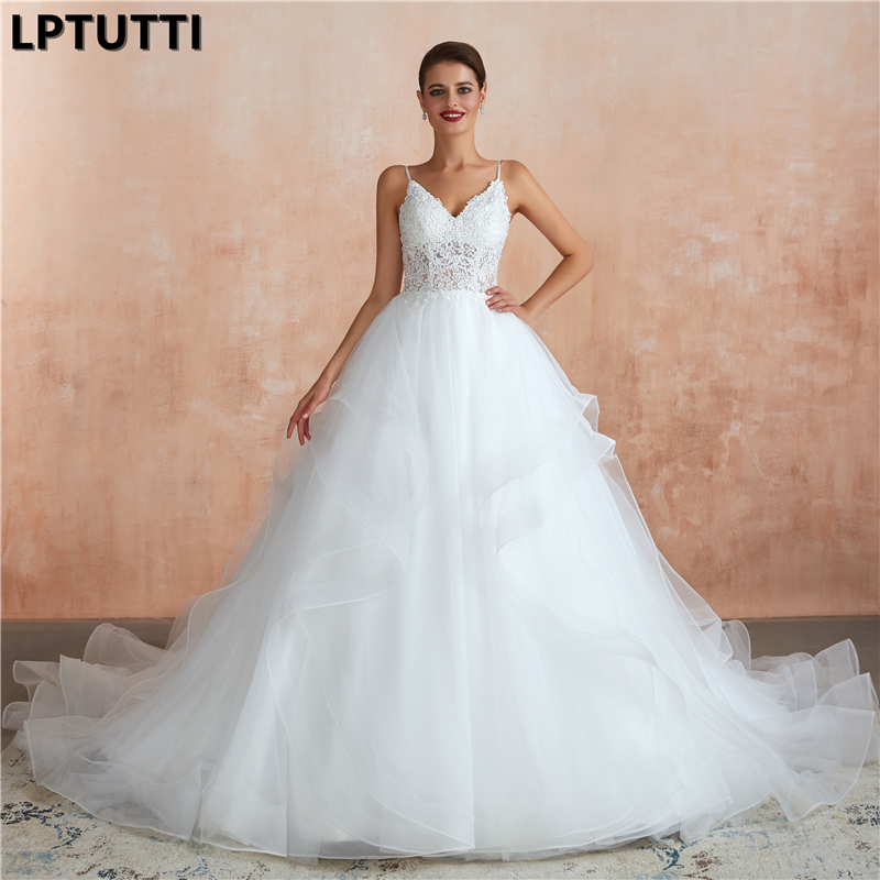 LPTUTTI Lace Embroide New Sexy Vintage Princess Bridal Marriage Gown Bride Simple Party Events Long Luxury Wedding Dresses
