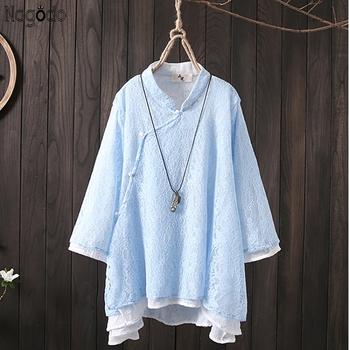 Nagodo koronkowa bluzka 2020 wiosna lato mieszanka lnu i bawełny w chińskim stylu Hanfu Top kobiety duże rozmiary dwuwarstwowa damska chińska bluzka tanie i dobre opinie COTTON Pościel Topy WOMEN Czesankowej Lace Blouse