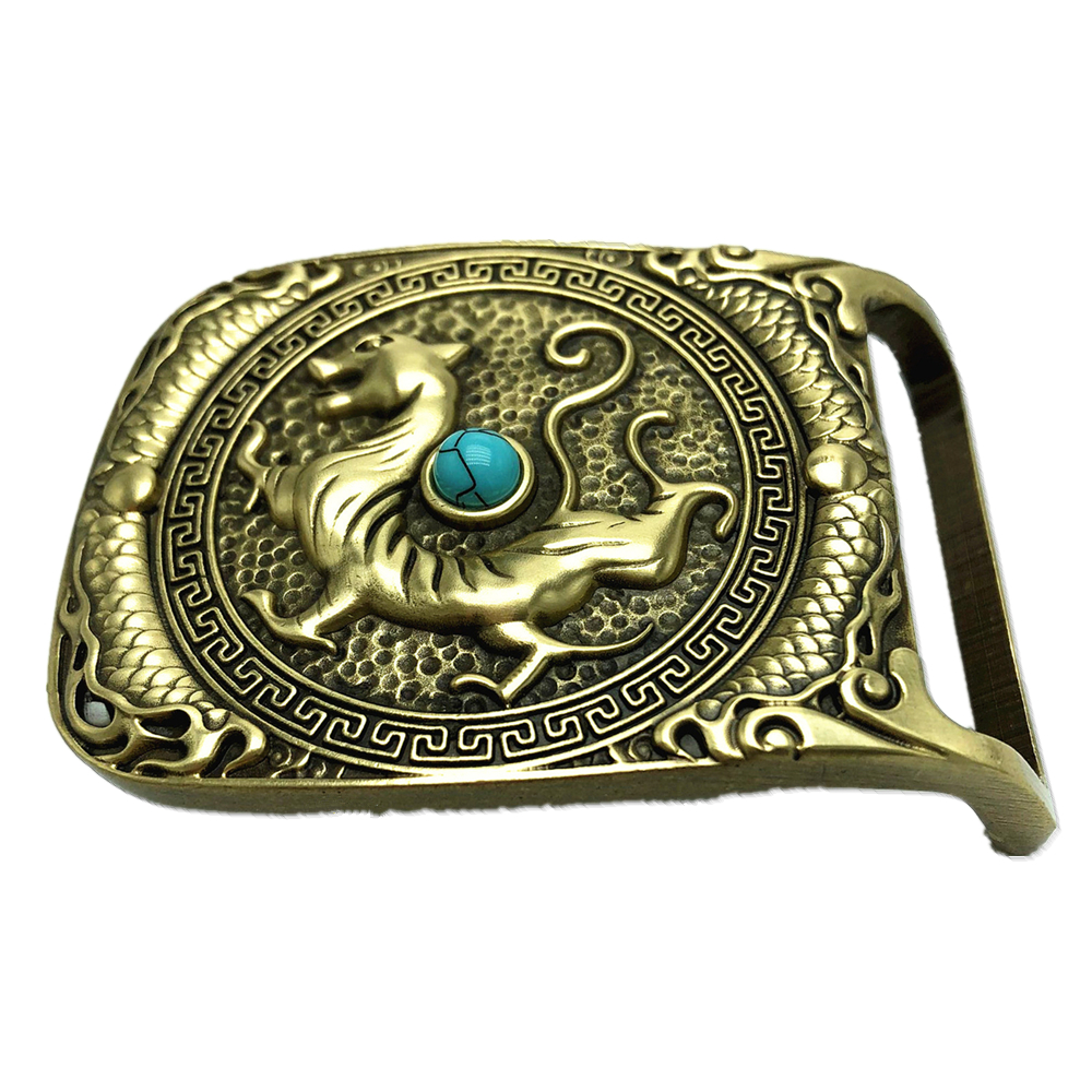 Pure Copper Vintage Antique Belt Buckle Big Fortune Chinese White Tiger Western Cowboy Mens Fashion Fine Accessory
