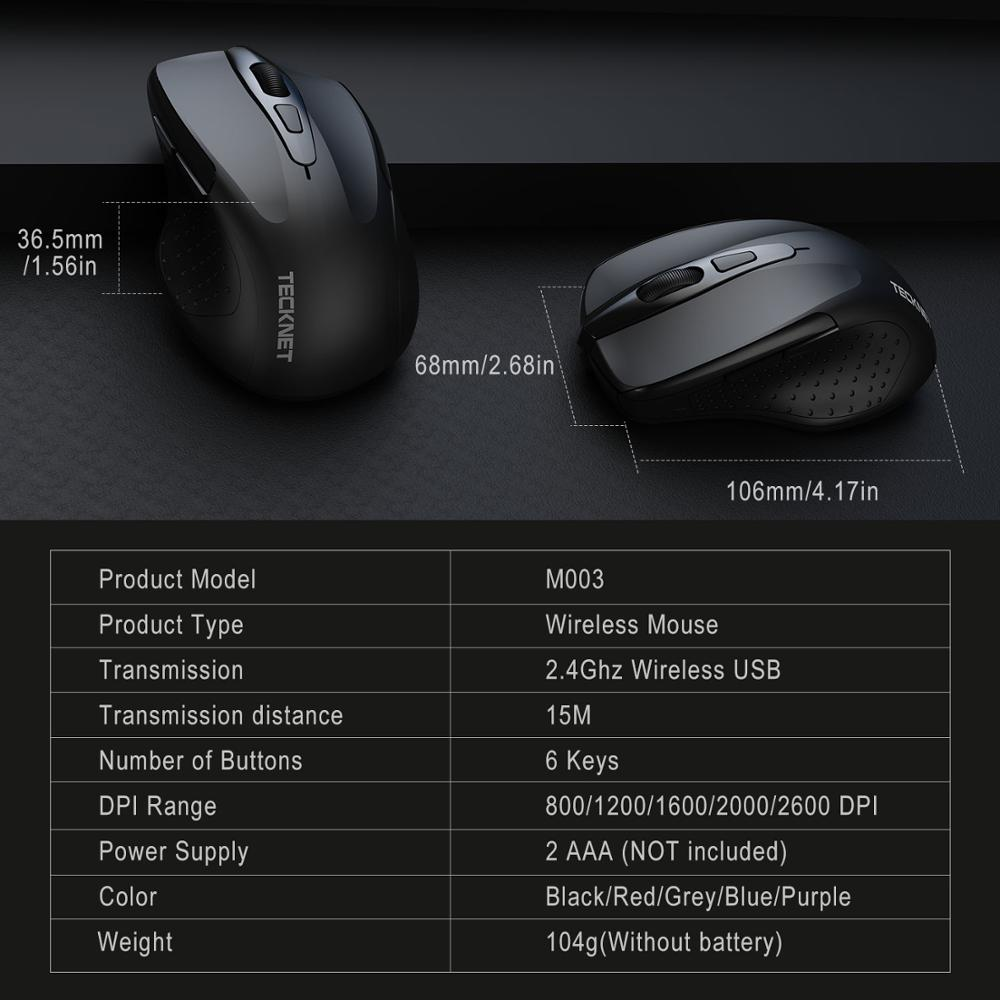 Image 5 - TeckNet Pro 2.4GHz Wireless Mouse Nano Receiver Ergonomic Mice 6 Buttons 2600DPI 5 Adjustment Levels for Computer Laptop Desktop-in Mice from Computer & Office