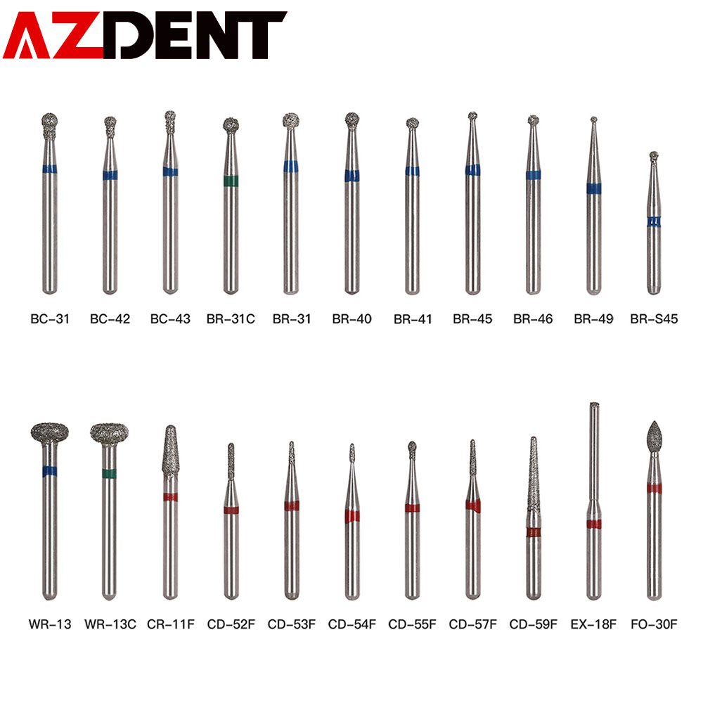 5pcs/pack Dental Diamond Burs Set Drills High Speed Handpiece Polishing Smoothing  Dentist Tools Diamond Burs Kit BR-31 BR-31C
