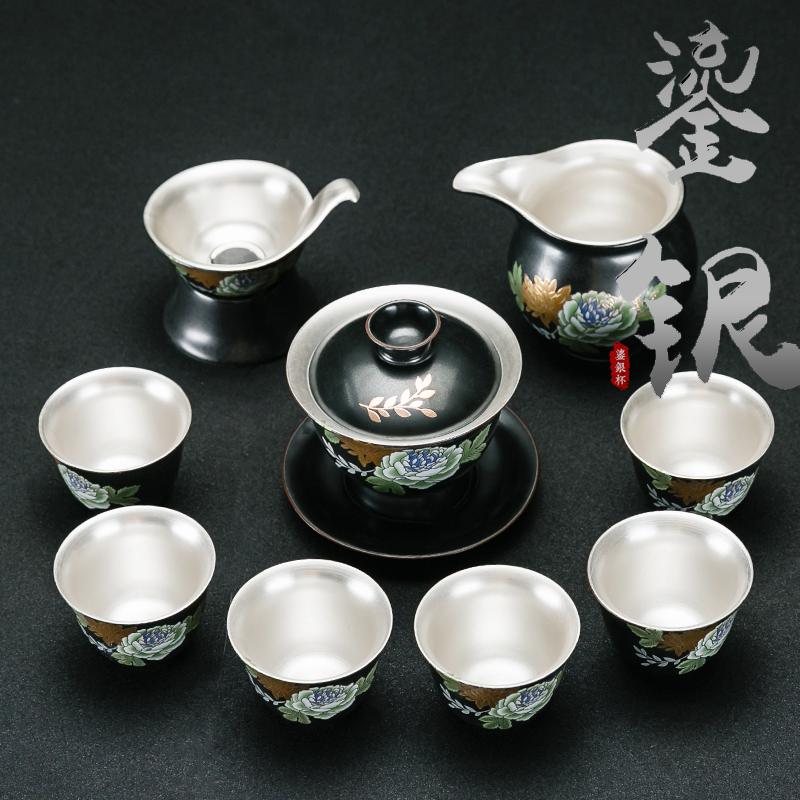 Silver Kung Fu Tea Set Home Office Creative Inlaid Silver Ceramic Set Lid Tea Cup Gift Box