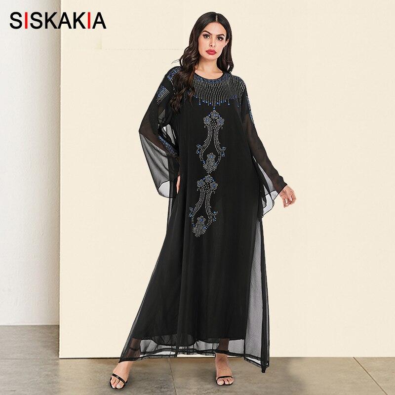 Siskakia Fashion Muslim Robe Dress Black Ethnic Rhinestone Maxi Dresses Flare Long Sleeve Turkish Arabian Dubai Wears Autumn New