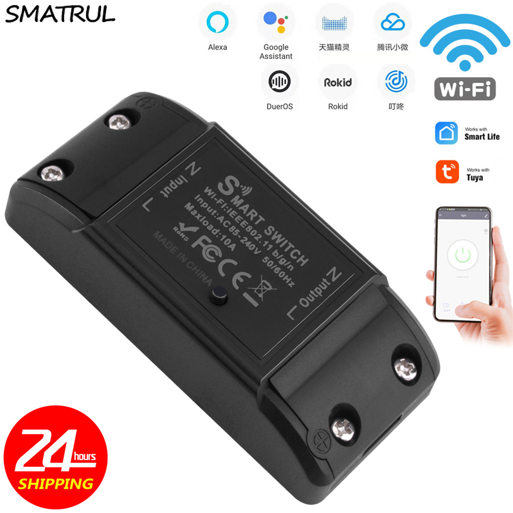 SMATRUL Tuya Switch Smart Life APP WiFi Voice Relay Controller Timer Module Google Home Amazon Alexa Rokid 110V 220V LighT