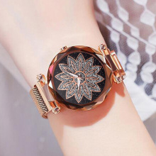 Women Flower Watch Magnet Rose Gold Watch Luxury Diamond Female Clock Ladies Dress Quartz Crystal Wrist Watches relogio feminino weiqin luxury crystal diamond gold bracelet watches women ladies fashion bangle dress watch woman clock hour relogio feminino