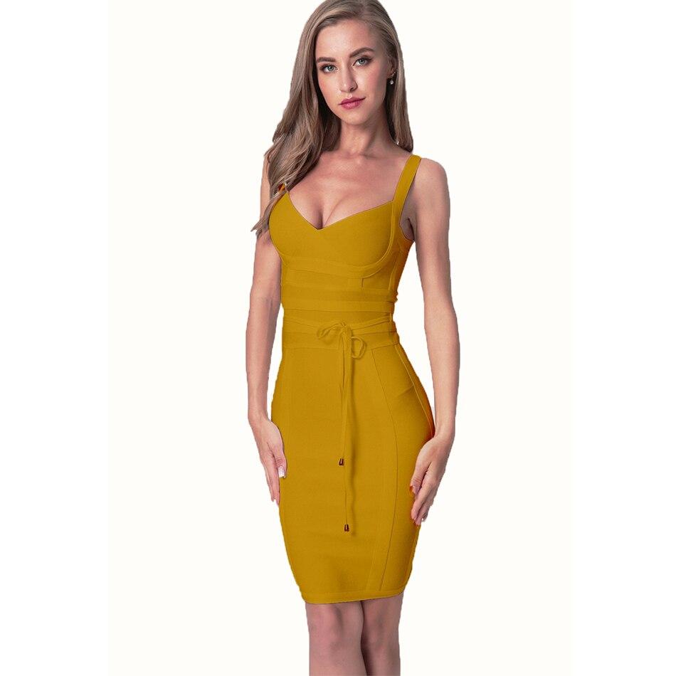 2020 Newest Fashion Bandage Dress Women Spaghetti Strap V-Neck Belt Sexy Night Club Evening Party Bodycon Dress Women Vestidos 1