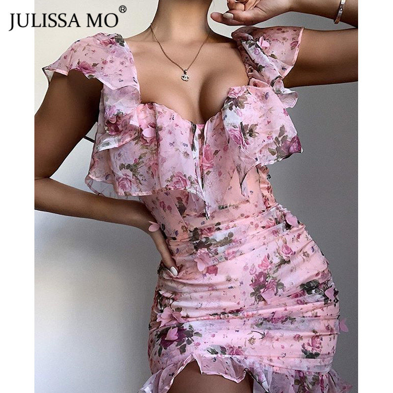 JULISSA MO <font><b>Sexy</b></font> Off Shoulder Floral Print <font><b>Dress</b></font> <font><b>Women</b></font> Ruffles Sleeve Bodycon Short <font><b>Dress</b></font> Elegant Female Backless Party Vestidos image