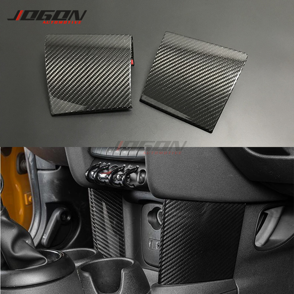 Dry Carbon Fiber Central Console Cigarette Side Panel Trim For MINI ONE COOPER JCW F55 F56 F57 2015-2020