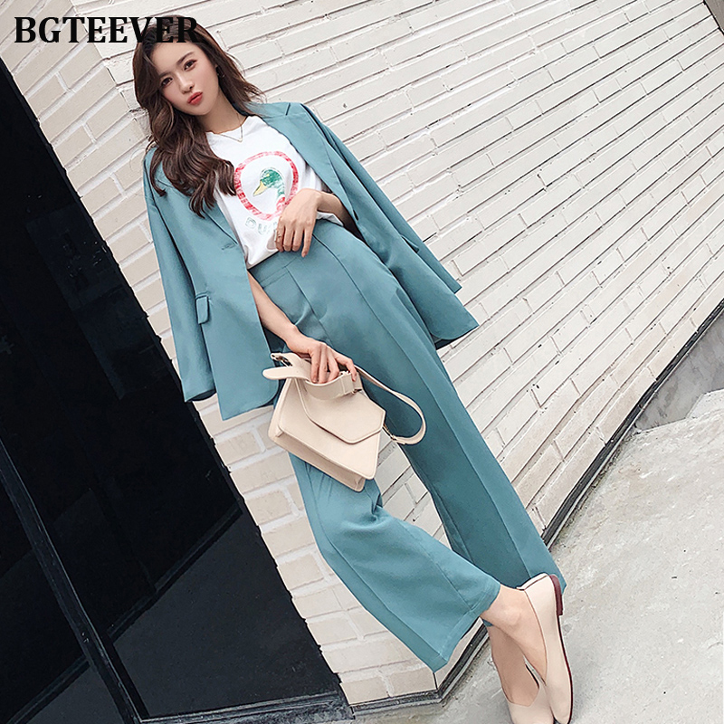 Elegant Women Pant Suits One-button Blazer Jacket & Elastic Waist Pants Workwear Female Blazer Suits 2019 Autumn 2 Pieces Set