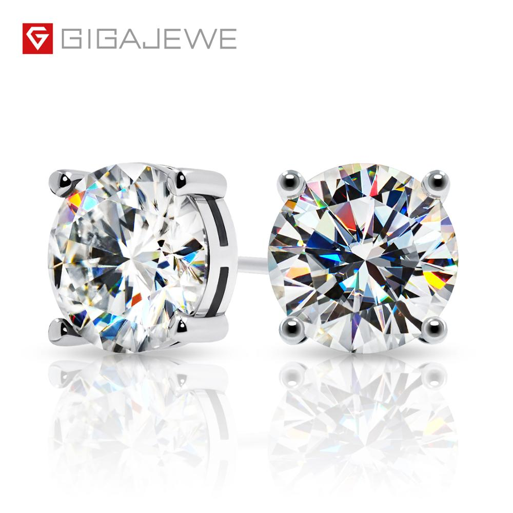 GIGAJEWE Total 6.0ct EF VVS Diamond Test Passed Moissanite White Gold Plated 925 Silver Earrings Jewelry Woman Girlfriend Gift