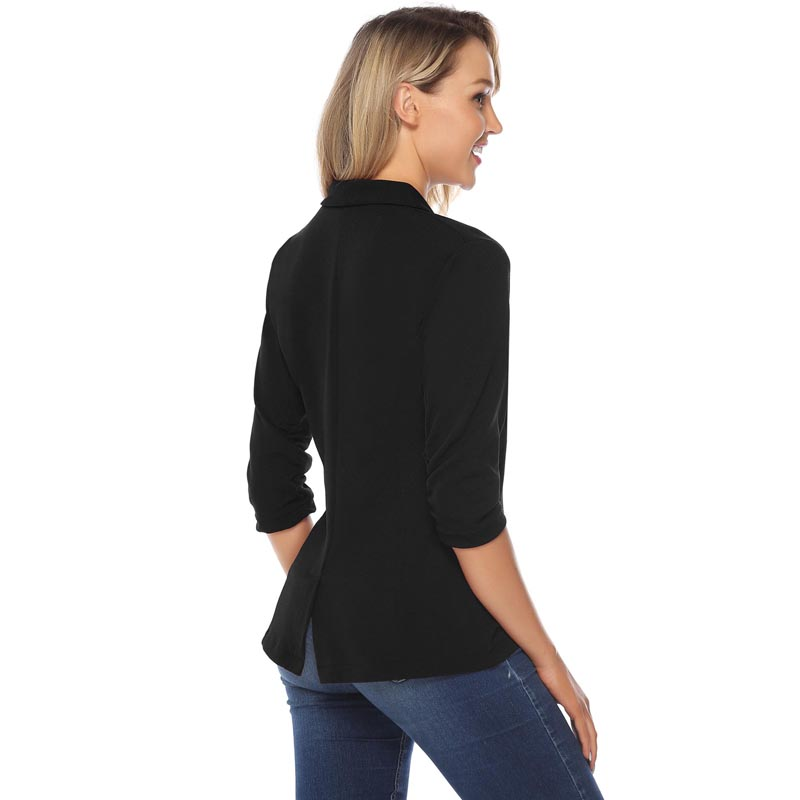 Image 2 - iClosam Women Classic Black Blazer Elegant Solid Color Slim  Jacket Suit 2019 New Fashion Long Sleeve Office Ladies BlazerBlazers