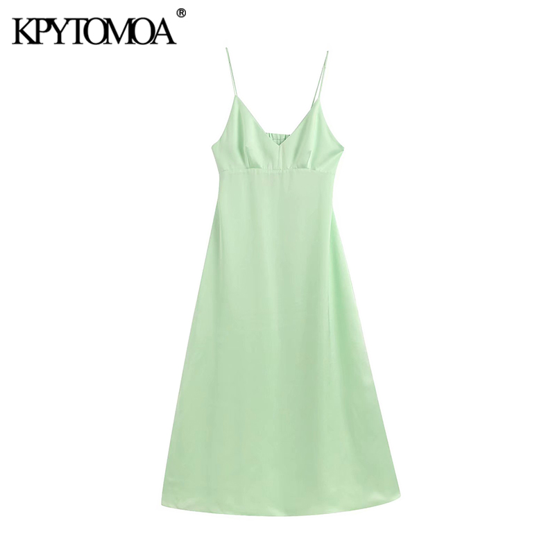 KPYTOMOA Women 2020 Chic Fashion Hollow Out Cozy Midi Dress Vintage V Neck Back Elastic Zipper Straps Female Dresses Vestidos