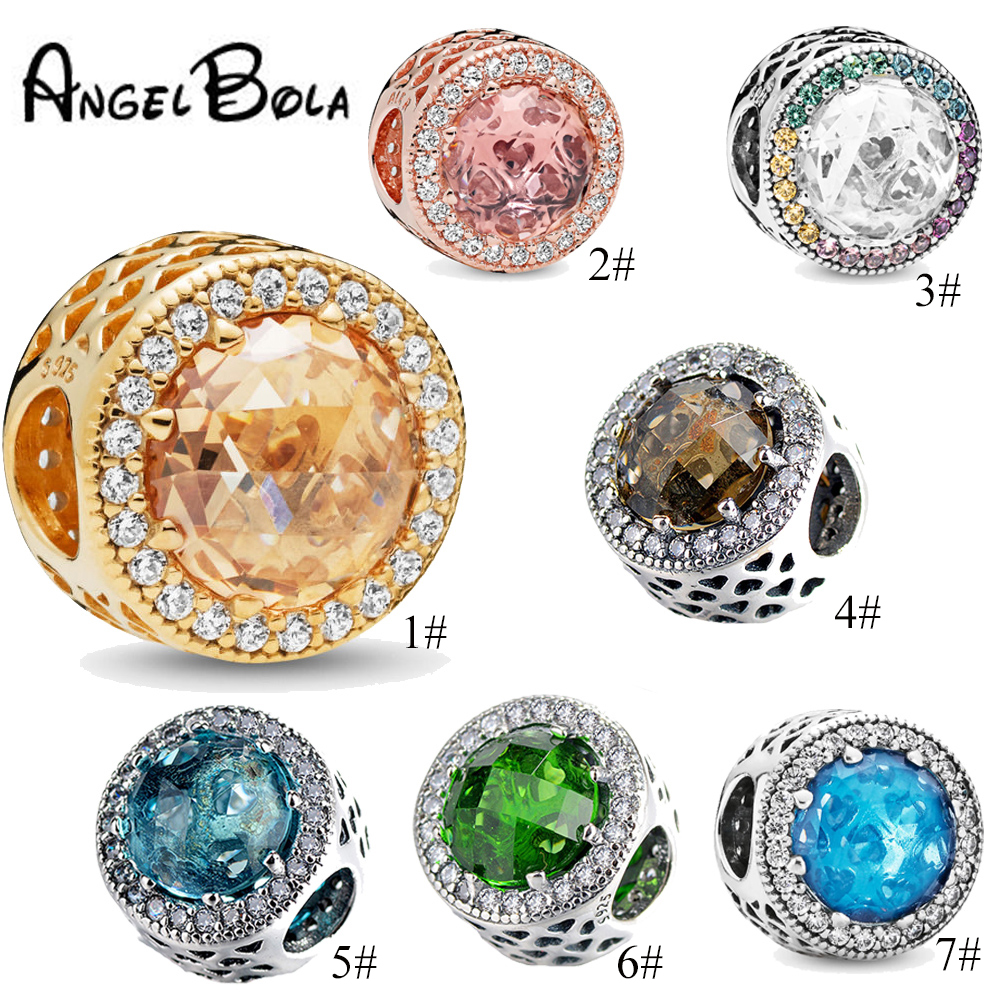 9 Colors Crystal Radiant Ocean Heart Necklace Charm Beads Fit Original бандура Charm Bracelet Luxurious Jewelry Gift To Women