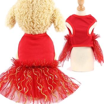 New Pet Cat Dog Dresses Apparel Vest Clothes Puppy Tops Coat Summer Mesh Dress Girl Princess