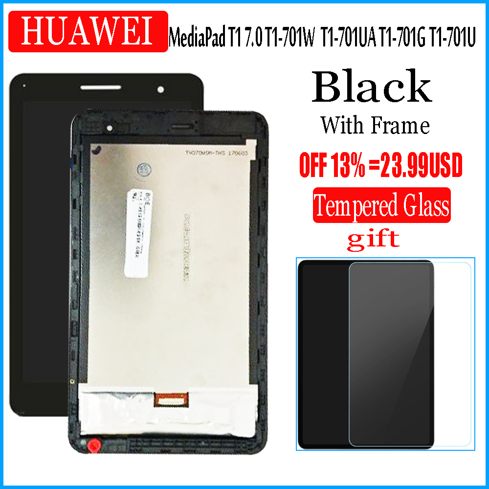 For HUAWEI MediaPad T1 7.0 T1-701W 701UA T1-701 T1-701UA T1-701G T1-701U LCD Display and with Touch Screen Digitizer Assembly