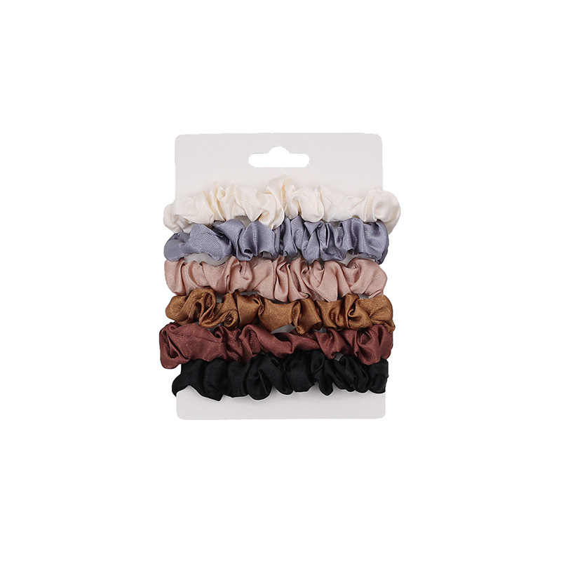 6Pcs/Set Elastic Hair Bands Satin Scrunchie Hair Ties For Women Hair Accessories Ponytail Holder Hair Rope Solid Color Headwear
