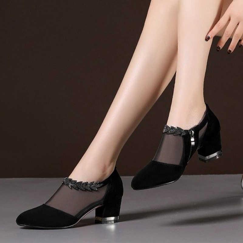 Yaz örgü Peep Toe sandalet seksi topuklu tek ayakkabı dantel pompaları kadın yüksek topuk moda kadın ayakkabı platformu bayanlar 2020