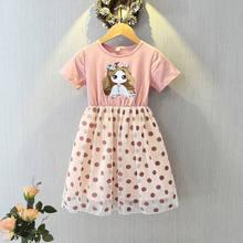 Vestido de princesa para niña, trajes de fiesta para niño, traje de chico Floral con lunares, novedad de verano