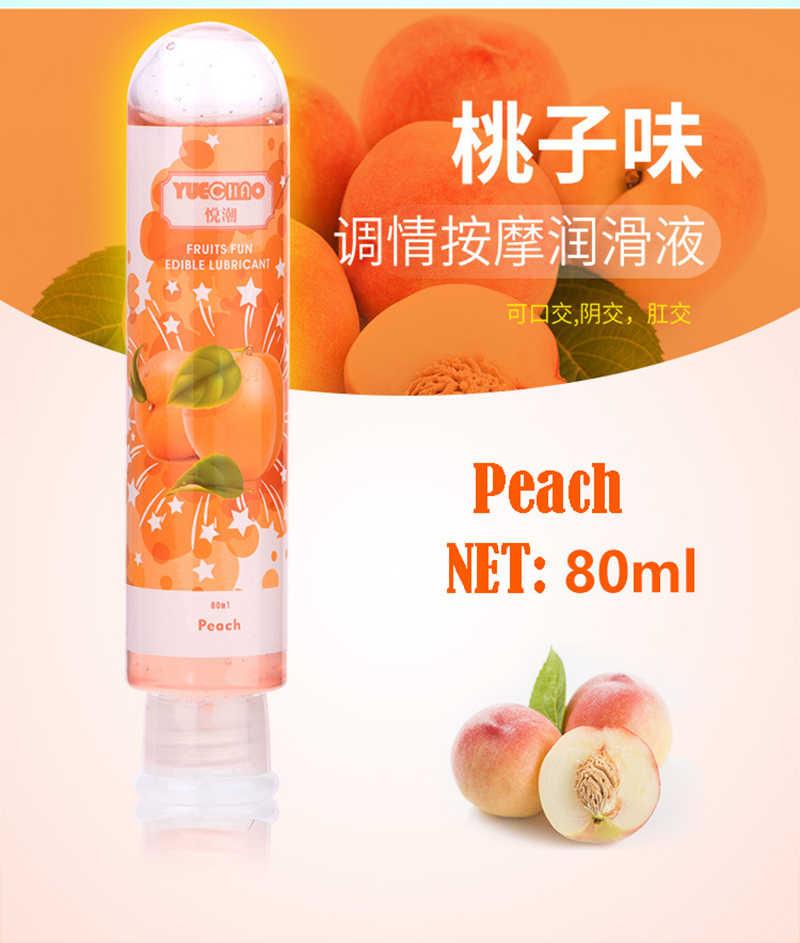 80ML Rasa Buah Strawberry/Cherry/Apple/Peach/Blueberry/Lemon Pelumas Berbasis Air Anal Oral gel Seks Pelumas Vagina/Penis