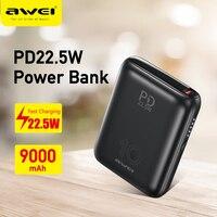 Awei Power Bank portatile PD ricarica rapida 22.5W Max 9000mAh tipo C carica USB caricabatterie rapido da viaggio Mini Powerbank P115K