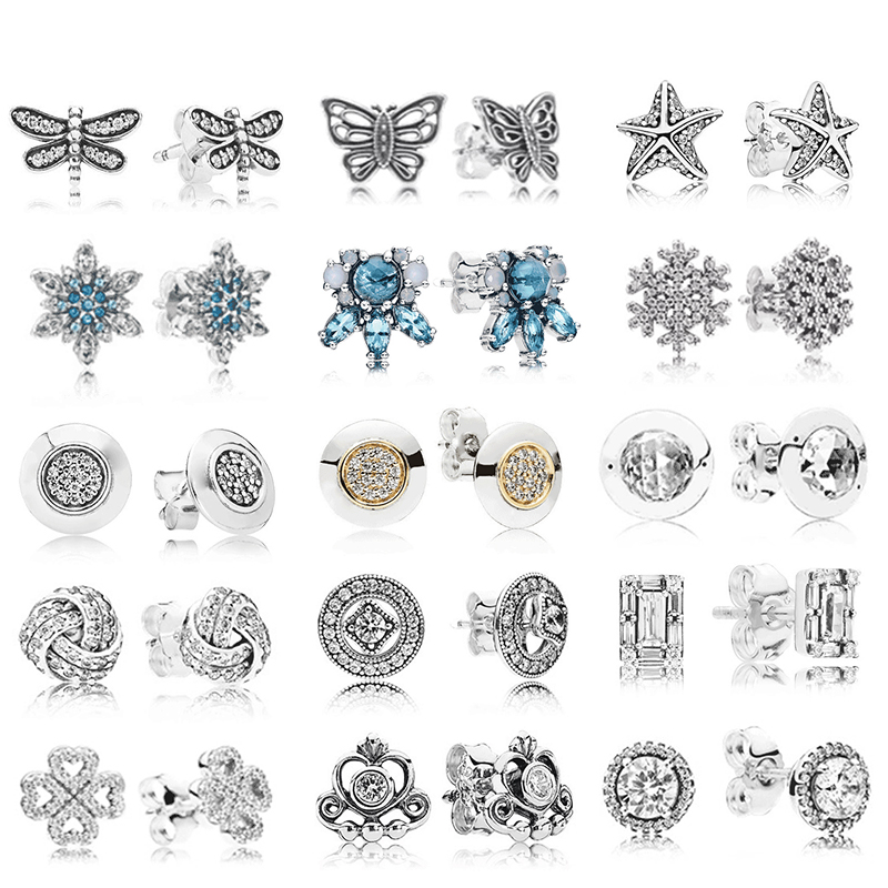 PDB  ED  05   RLLEN Original 925 Silver Earrings Crystal Luxury Earrings Star & Amp; Classic Elegant Earrings