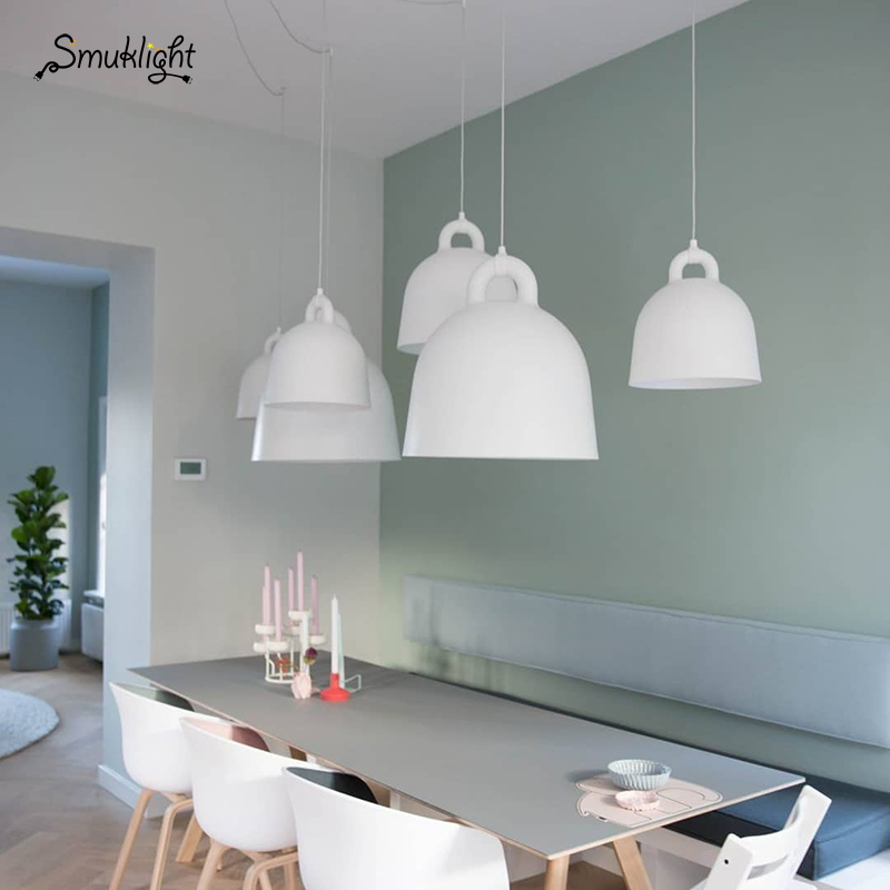 Modern Simple Style Bell Shape Droplight Bar Cafe Bedroom Restaurant Black/White/Gray/Sand White Lamp Resin Craft Pendant Light
