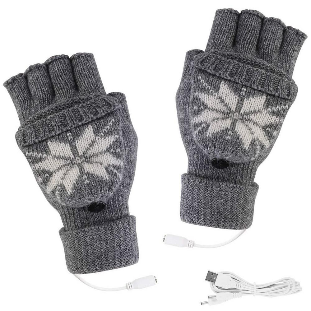 2020 Ski Gloves Multi-function Outdoor Knitting Heated Gloves Winter Hot Hands Warm Gloves USB Gloves Motorbike Motorcycle
