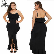 Skyyue Evening Dress Sling Ruffles Plus Size Women Party Dresses Solid Robe De Soiree Sexy Backless Gowns 2019 T037