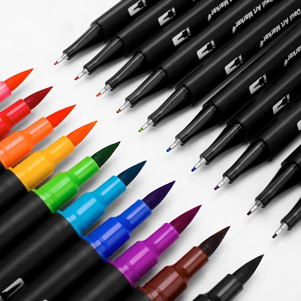Image 4 - 48/60/72/100 色水彩マーカーためデッサン絵画セットプロの水着色ブラシペンセットデュアルチップ学校アート マーカー   -